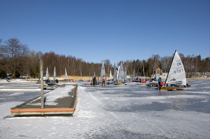 Ice Boats in Stockholm Archipelago - March 2005.