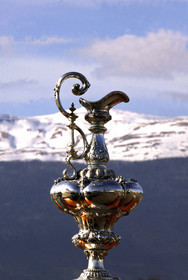 03_2233D ©Th.Martinez .Geneva , Switzerland. America's Cup 2003. 8th March 2003.Alinghi Team winner of America's Cup 2003..The America's Cup with Swiss snow in the background....