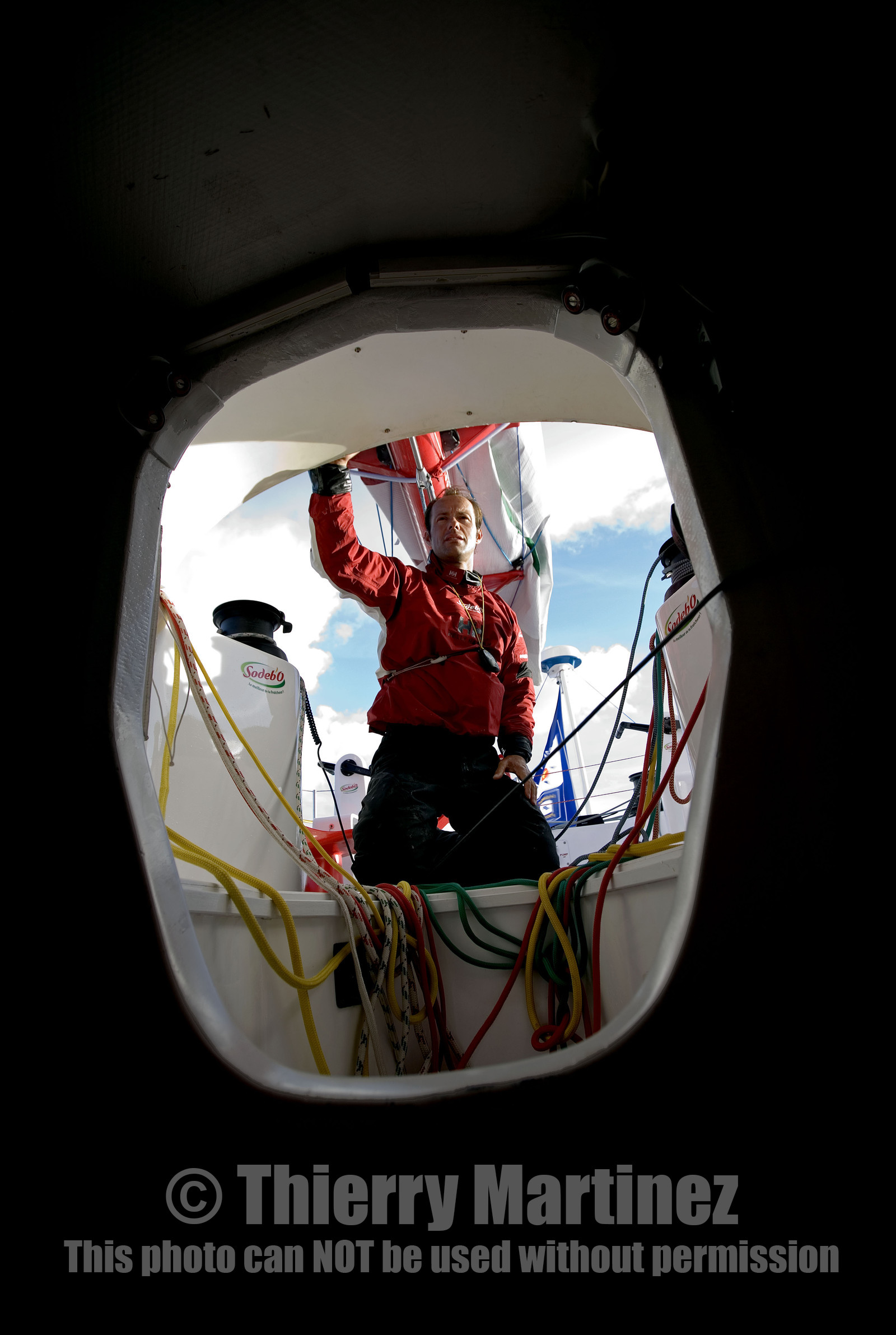 Thomas Coville(FRA) training on board trimaran SODEB'O for 2006 Route du Rhum.